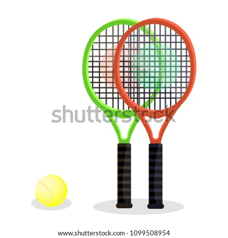 Two tennis rackets with yellow ball. Modern flat cartoons style vector illustration icons. Isolated on white background. Tennis gear for game. Tennis equipments and accessories. Game sport concept.