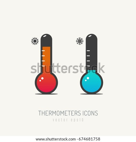 two thermometers icons red