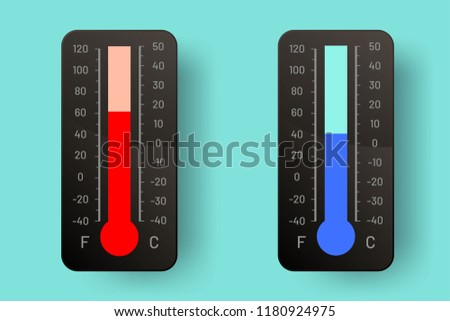 Two thermometers in dark colors. Celsius. Fahrenheit.