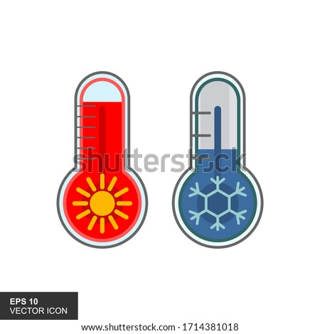 two thermometers with high and