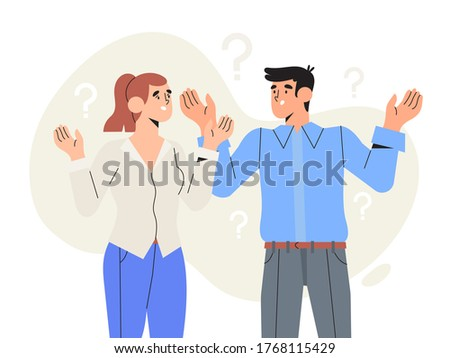 Two thoughtful characters with question marks solving problems or searching solutions. Problem solving and choice. Smart man and woman thinking or puzzled. Frequently asked questions concept.