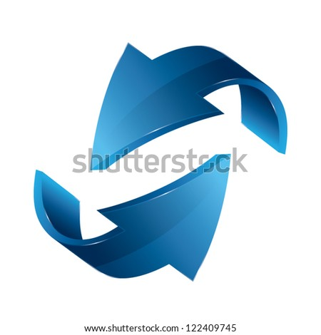 Two three dimensional arrows, business concept, vector illustration