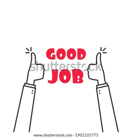 two thumbs up fingers like good job. concept of encouraging message symbol and recognition or compliment sign. simple trend modern support graphic outline art design element isolated on white Сток-фото ©