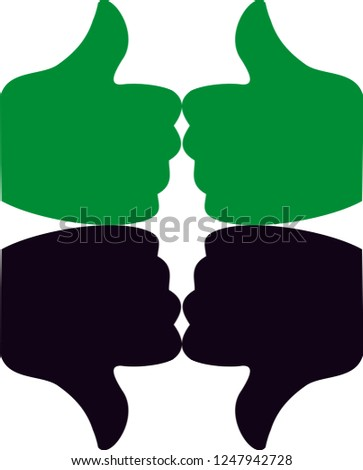 Two thumbs up symbol with green color  use for done workand black thumbsdown for use work not good,vector file