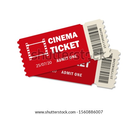Two ticket of cinema for movie. Template red VIP entry pass tickets for theater, festival, cinema on isolated background. Pass ticket on film. 3d paper coupon icon. vector illustration eps10