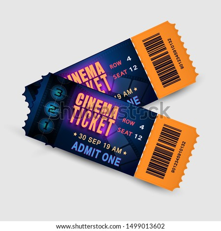 Two tickets with film strip and number countdown. Bright design template tickets for cinema, festival, theatre or event. Pair movie entrance ticket. Realistic vector film and entertainment concept.