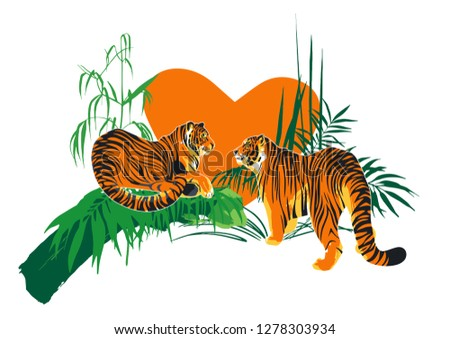 two tigers in love looking at
