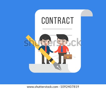 Two tiny businessman make a deal contract, flat design business concept