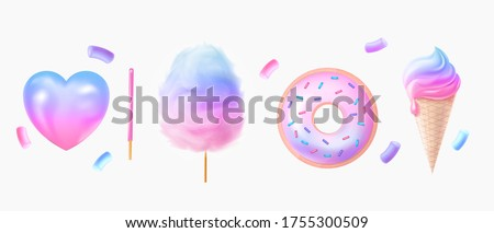 Two tone cotton candy, donut, candy realistic. Set of sweets. Two-tone cotton candy 3D. Donut and marshmallows in pinky blue and purple colour. Heart shaped candy.