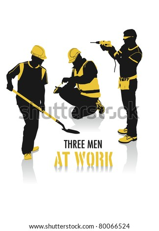 Two-tone silhouettes of three men at work, part of a collection of lifestyle people.