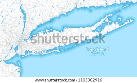 Two-toned map of Long island, New York with the largest highways, roads and surrounding islands and islets
