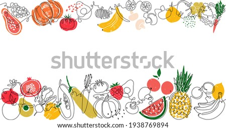 Two top and bottom Seamless Patterns with Fruits, Vegetables and empty space for text between them . Vector Background. Frame with organic food. Can be also yused like Banner, Flyer, Texture, Poster.