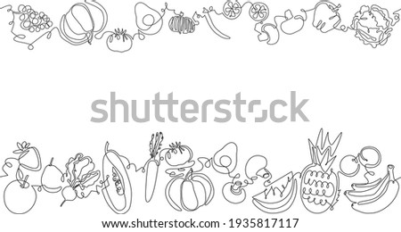 Two top and bottom Seamless Patterns with Fruits, Vegetables and empty space for text. Vector Background. One line art Style. Frame with organic food. Can be also yused like Banner, Flyer, Texture