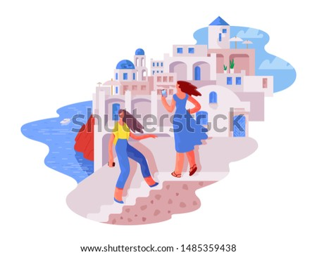 two tourists girls on the