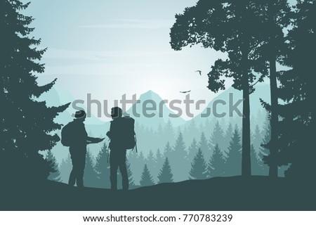 two tourists walking through a