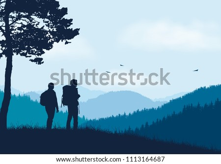 two tourists with backpacks