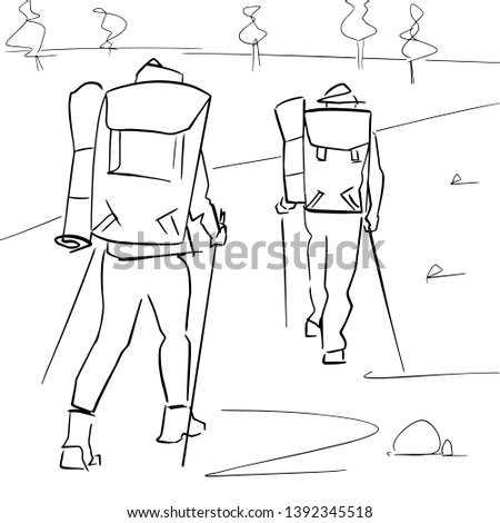 two tourists with hiking sticks