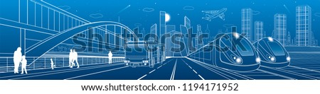Two trains travel by rail. Bus rides on city highway. Modern night town. Urban scene. People walking at street. White lines on blue background. Vector design art Сток-фото ©