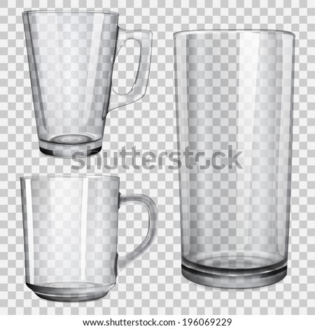 two translucent cups and one