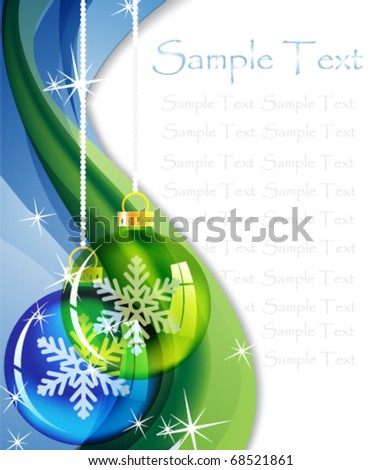 Two transparent Christmas balls on a sparkling  background