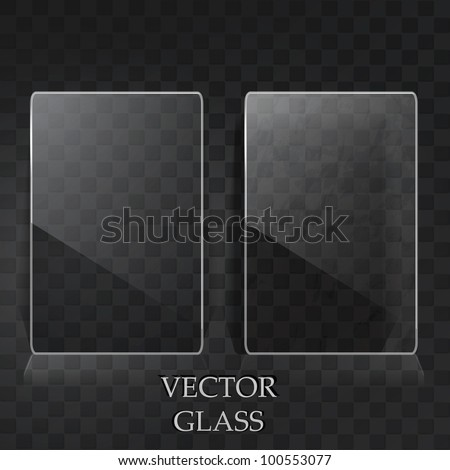 Two transparent labels on the black metal surface