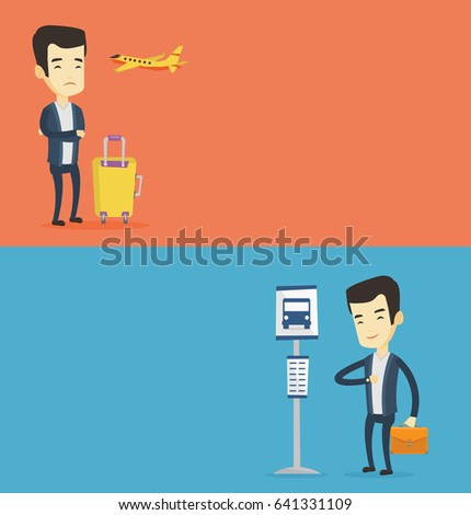 Two transportation banners with space for text. Vector flat design. Horizontal layout. Young asian airplane passenger frightened by future flight. Airplane passenger suffering from fear of flying.