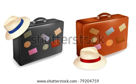 Two travel suitcases and hats.  Vector illustration.