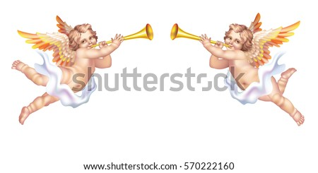 Two trumpeting cherub in the pipe on a white background Сток-фото ©