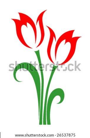 Two tulips - stock vector