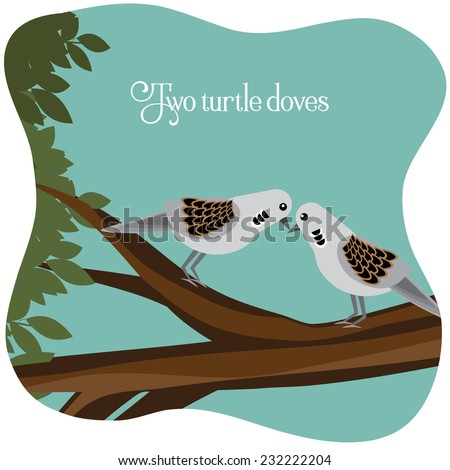 Two turtle doves on a branch EPS 10 vector illustration Zdjęcia stock ©