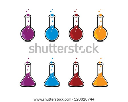Two Types of Science Beakers in Different Colors.