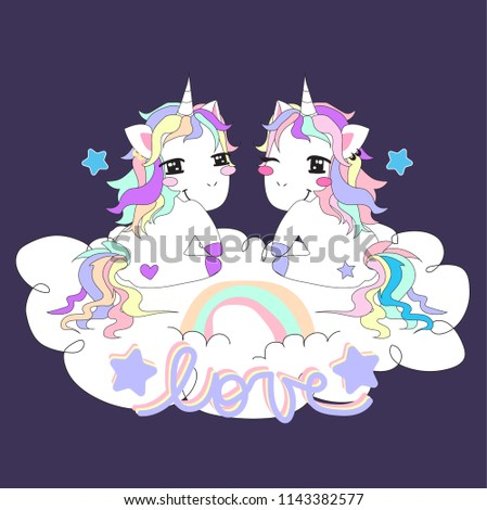 two unicorns in love with a rainbow in a cloud #1143382577