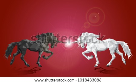 two unicorns white and black in