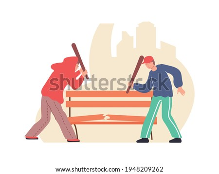 Two vandals damaging bench with bats flat composition vector illustration Foto stock ©