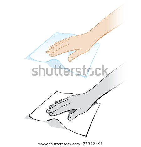 Two variants of a womans hand with a rag. Illustration on white background