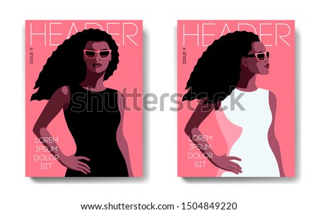 Two variants of fashion magazine cover designs. Female portrait, front and side views. African american girls with long curly hair, in black and white dresses and sunglasses. Vector illustration