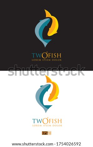 two variations of a logo of two