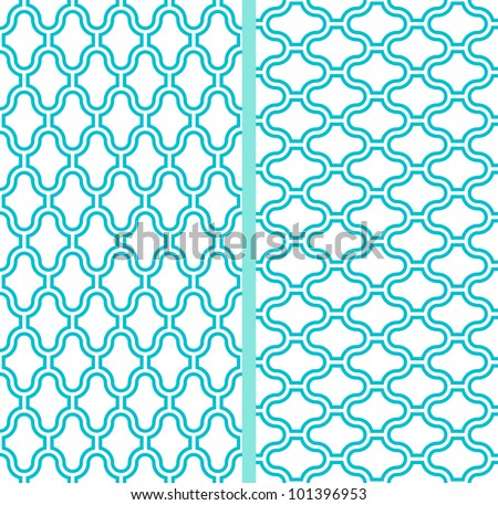 Two vector abstract lattice seamless patterns in turquoise background