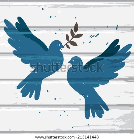 two vector blue doves on white...