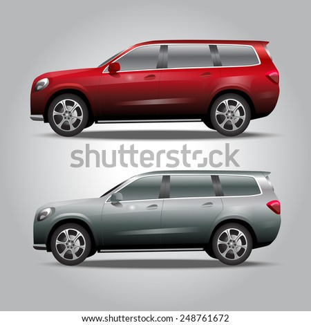 two vector cars red car and