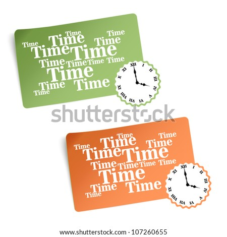 Two vector color banners with clock
