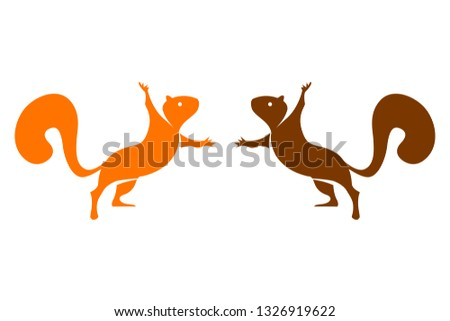 two vector colorful squirrels