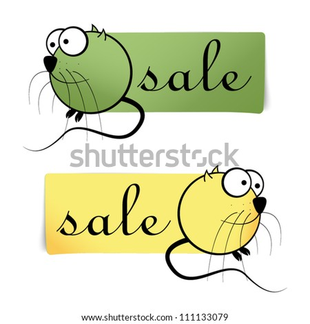 Two vector comic sale stickers - mouse