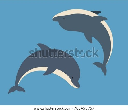 two vector dolphins jumping