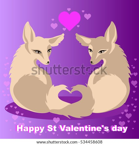 two vector foxes in love for st
