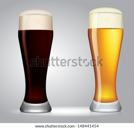 two vector glasses of beer