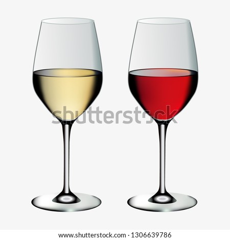 two vector glasses of wine