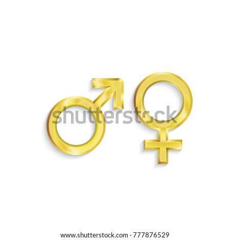 Two Vector Golden Symbols Of Gender Sex Love Ez Canvas