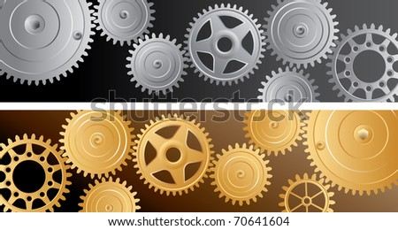 two vector horizontal banners with gears
