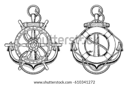Two vector illustrations of a sea anchors with a wooden ship steering wheel and life ring in the engraving style. Print for T-shirts